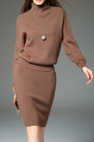 Drop Shoulder Sweater with Knit Skirt