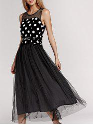 Sweet Polka Dot Gauze Spliced Sleeveless Pleated Dress For Women