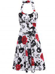 Vintage Halter Flower Print Sleeveless Dress For Women - BLACK AND WHITE AND RED S