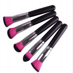Élégant 5 Pcs Nylon Pinceau Poudre Different Forme Maquillage Facial Brush Set - Rose Rouge