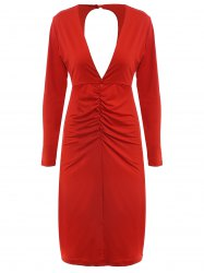 Women's Chic Long Sleeve Plunging Neck Cut Out Pure Color Dress -