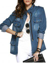 Pockets Decorated Wash Casual Denim Jacket Coat