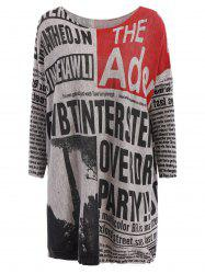 Stylish Scoop Neck Long Sleeves Newspaper Printed Sweater For Women - COLORMIX ONE SIZE(FIT SIZE XS TO M)