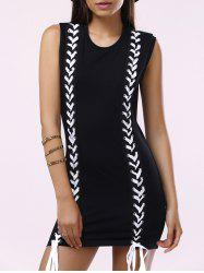 Brief Round Collar Lace-Up Sleeveless Dress For Women -