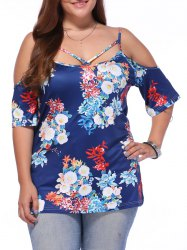 Chic Off-The-Shoulder Criss-Cross Floral Print Plus Size Blouse For Women