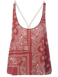 Stylish Backless Print Spaghetti Strap Top For Women -