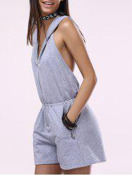 Fashionable Sleeveless Backless Hooded Romper - LIGHT GRAY