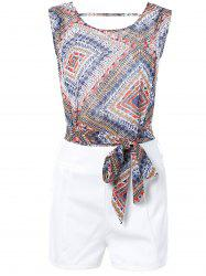 Geometric Print Tie Front Sleeveless Blouse + White Shorts Twinset For Women -