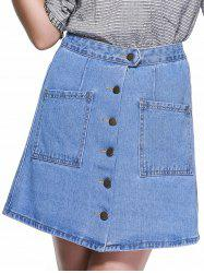 Preppy Style High-Waist Button Down Denim Skirt - LIGHT BLUE