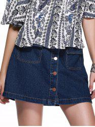 Trendy Button Down Flap-Pockets A-Line Denim Skirt