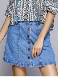 Sweet Denim A-line Button Through Mini Skirt For Women -