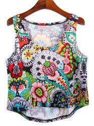 Trendy Women's Scoop Neck Paisley High Low Tank Top