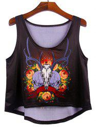 Scoop Neck Skull High Low Loose Crop Tank Top