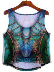 Trendy Women's Scoop Neck Print Asymmetric Tank Top -