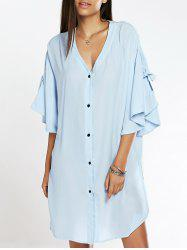 Fashionable Ruffles Sleeve Side Slit Shirt Dress For Women -