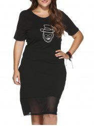 Trendy Plus Size See-Through Skull Pattern Sheath Dress -