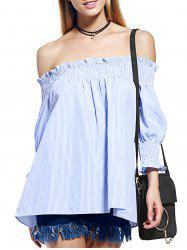 Alluring Off The Shoulder Striped Women's Shirred Blouse -