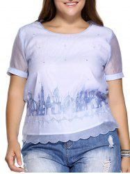 Sweet Plus Size Castle Pattern Embroidered Organza Blouse