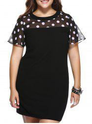 Brief Plus Size Polka Dot Print Spliced Shift Dress -