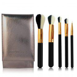 Stylish 5 Pcs Artificial Fiber Face Eye Makeup Brushes Set with Brush Package