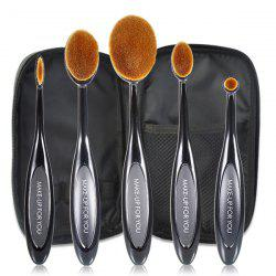 Stylish 5 Pcs Toothbrush Shape Fiber Face Eye Lip Makeup Brushes Set with Brush Package