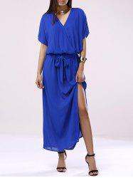 Elegant V-Neck 3/4 Sleeve Chiffon Dress -