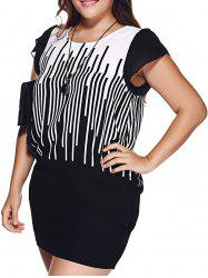 Chic Plus Size Hit Color Striped Mini Dress -