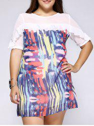 Refreshing Plus Size Tie-Dye Flounced Chiffon Dress -