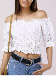 Off The Shoulder 3/4 Sleeve Crop Top Blouse -