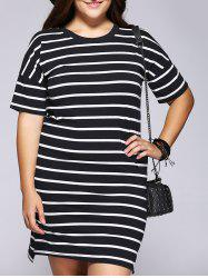 Casual Plus Size Striped Side Slit Shift Dress -