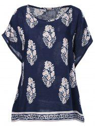 Ethnic Style Print Round Neck Short Sleeves Top For Women -