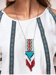A Suit of Multilayer Knitted Cloth Bead Tassel Pendant Necklaces -