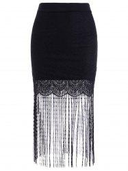 Chic Elastic Waist Lace Spliced Fringed Skinny Women's Skirt -
