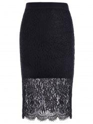 Trendy Lace Splicing Hollow Out Black Skinny Women's Skirt -