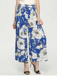 Button Fly Floral Print Women's Wide Leg Pants -