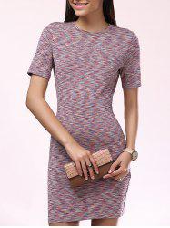 Fashionable Short Sleeves Scoop Neck Slim Dress For Women