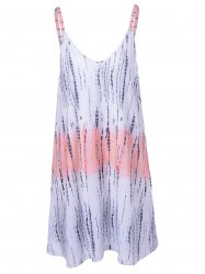 Fashionable Tie-Dye Weave Spaghetti Strap Backless Dress For Women - COLORMIX XL