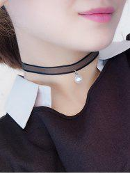 Faux Pearl Translucent Lace Chokers Necklace