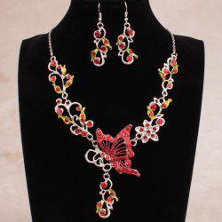 Fake Enamel Butterfly Vine Jewelry Set - RED
