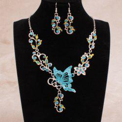 Fake Enamel Butterfly Vine Jewelry Set - LAKE BLUE