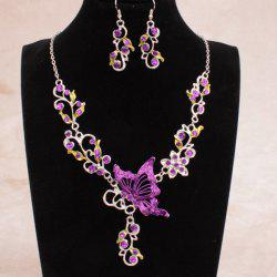 Fake Enamel Butterfly Vine Jewelry Set - PURPLE