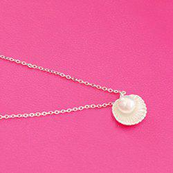 Fake Pearl Shell Pendant Necklace - SILVER