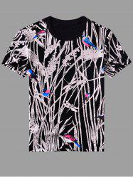 Modish Round Neck Abstract Printing Short Sleeves T-Shirt For Men -