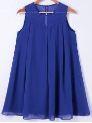 Round Neck Mini Trapeze Dress - BLUE