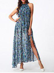 Bohemian Women's High Slit Printed Chiffon Dress -