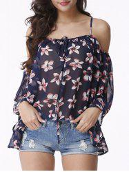 Attractive Women's Cold Shoulder Floral Print Chiffon Blouse -
