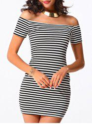 Trendy Women's Off The Shoulder Striped Short Sleeve Dress -