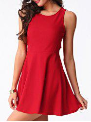 Trendy Women's Jewel Neck Cut Out Skater Dress -