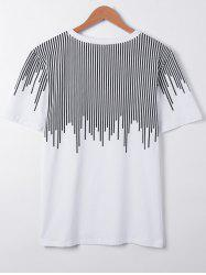Casual Short Sleeves Round Collar Asymmetric Stripe Printing T-Shirt For Men