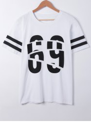 Fashionable Short Sleeves Number Print T-Shirt - WHITE L